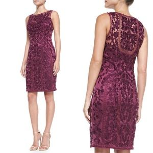 Sue Wong Floral Lace Overlay Sleeveless Midi Dress